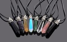 цены на Wholesale Natural Crystal Stone Choker Necklaces for Men Women Hot Hexagonal Column Pendant Bullet Six Face Necklace 18 Inches в интернет-магазинах