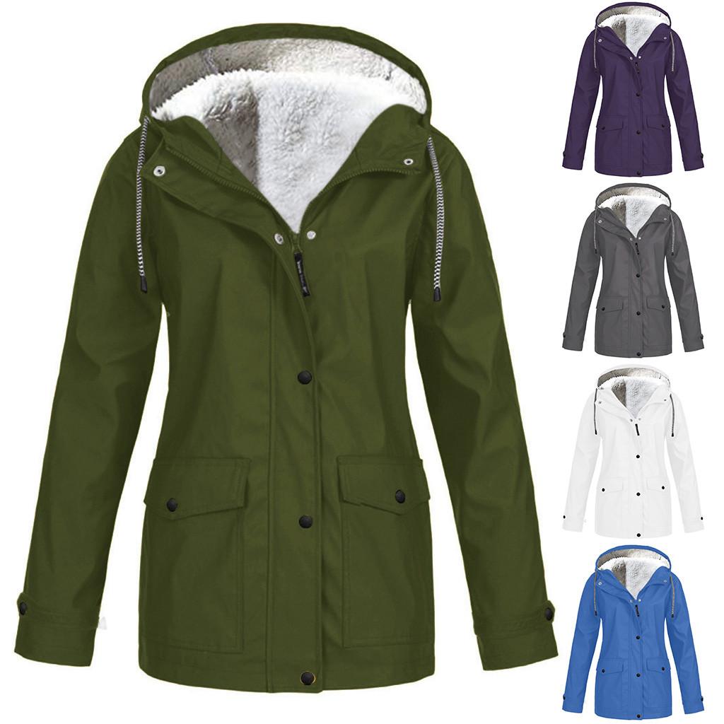 Raincoat Women Plus Size Waterproof Windproof Hooded Camping Tour Rain Coat Non disposable  Plus Size Hooded Raincoat