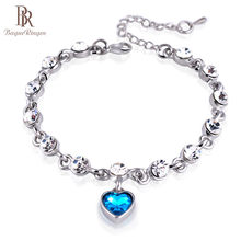 Bague Ringen Fashionable Delicate Silver 925 Jewelry High Quality Crysal Bracelet for Women Romantic Heart shaped Pendant Gift(China)