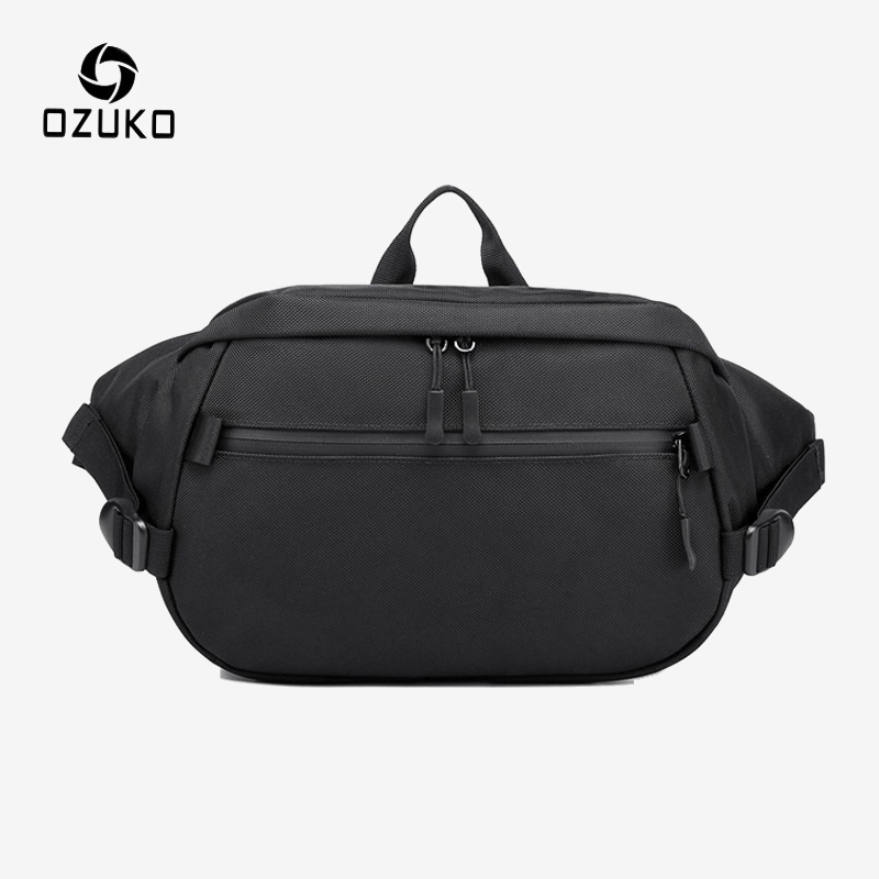OZUKO Waist Packs For Men Travel Fanny Pack Belt Male Small Waist Bag Phone Money Pouch Outdoor Sports Shoulder Messenger Bags