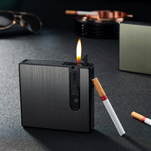Portable Cigarette Case Lighter Tobacco Box 16pcs Cigarettes Holder Box Creative Fuel Lighter Automatic Windproof Gadget For Men e cigarette vape support 18650 battery not included electronic cigarette box mod e cigarettes fit atlantis tank vs sucks cf mo