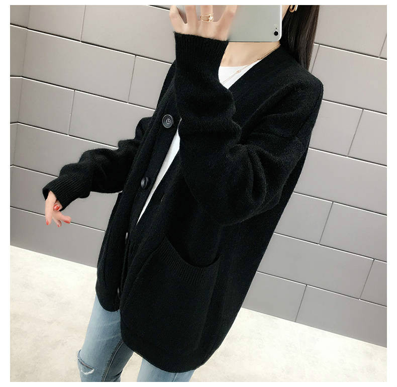 Woherb Black Knitted Sweater Women V Neck Long Sleeve Solid Color Cardigan Vintage Harajuku Casual Loose Tops Fashion New 90728 16