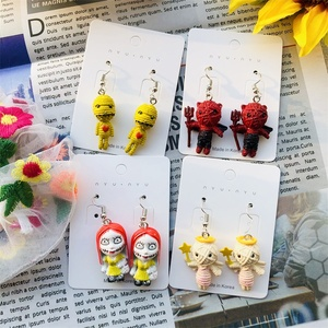2020 new Creative hand-made earrings women Funny personality mini cartoon devil angel earring exaggerated dangle earring jewelry