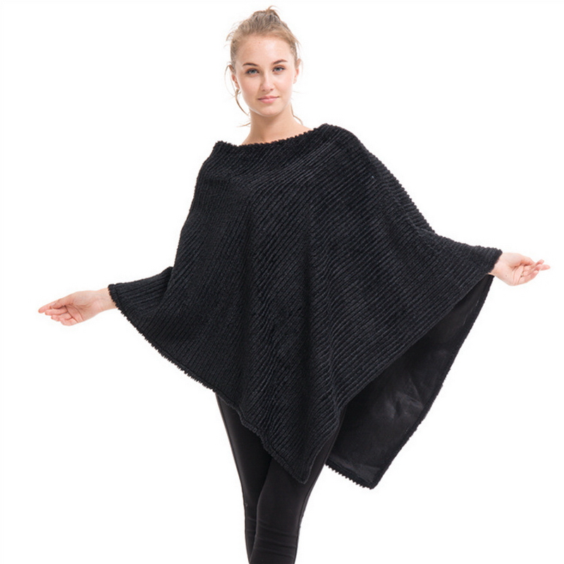 2021 Loose Large Cape Autumn Winter Poncho Women Wool Solid Fur Pullover White Black Pink Cloak Outwear
