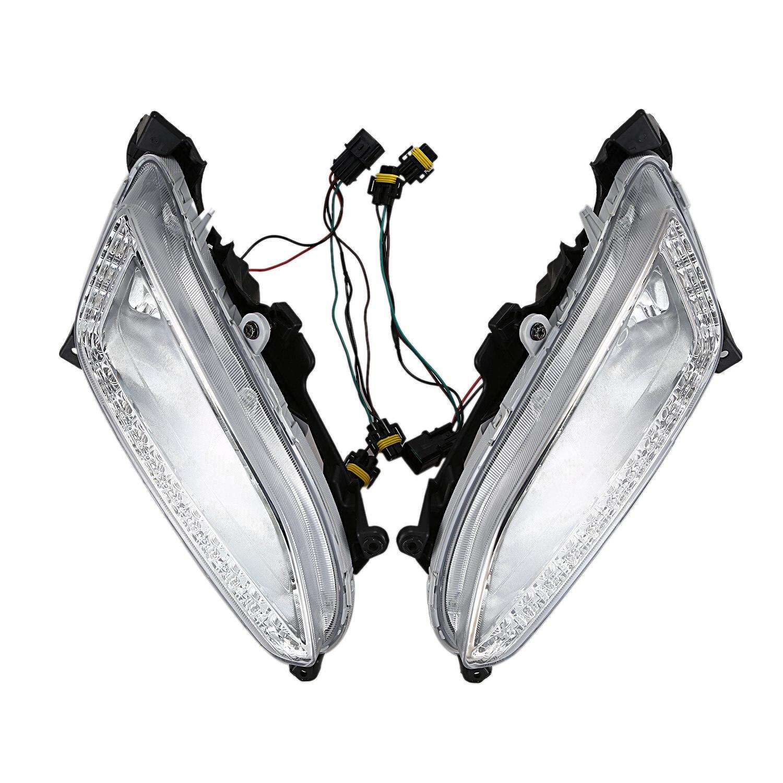 Светодиодный дневный ходовой светильник DRL противотуманная фара 12 в автомобильный ходовой светильник s для Hy un dai Santa Fe IX45 2013 2014 2015