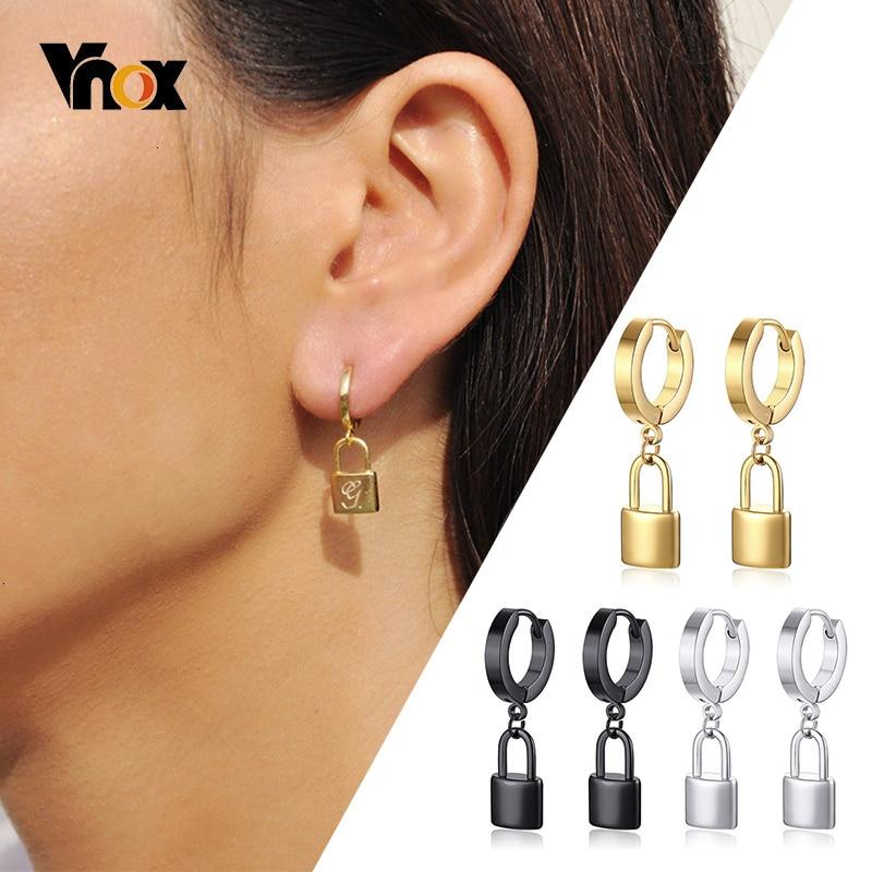 Vnox Personalize Initial Lock Huggie Earrings For Women Stainless Steel Dangle Earrings Customized Letter Sister Candid Jewelry
