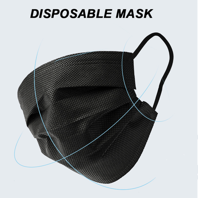 Fast Delivery 50pcs Black Mouth Mask 3-Layers Anti-fog Dust Face Masks Fabric Dustproof Cotton Disposable Non-woven Mouth Cover 2