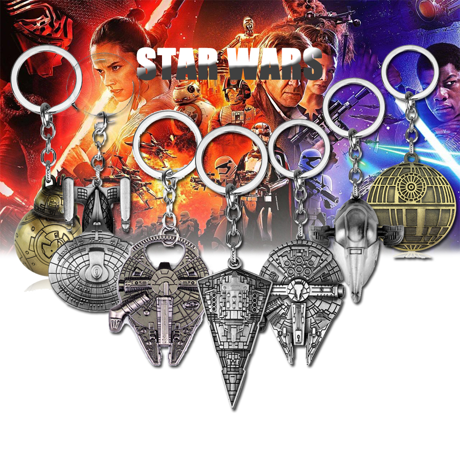 New Design Star Wars Jewelry Falcon Keychain SpaceShip Metal KeyRing Porte Clef Chaveiro Key Chain For Car Free Shipping