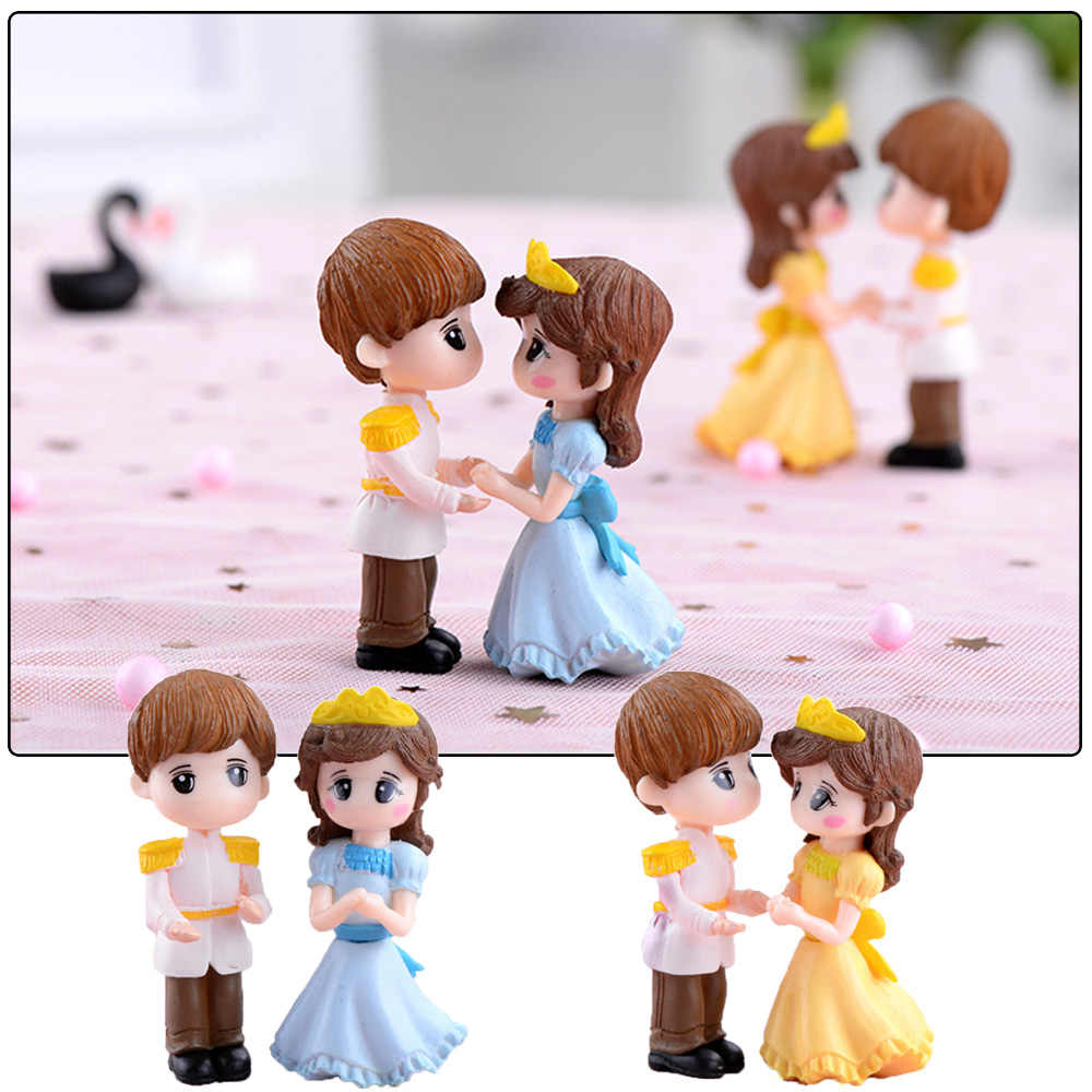 blue QQN 1 Pair Crafts Fairy Garden Moss Gnome Home Decorations Miniatures Lovers Couple Figurines Prince and Princess Micro Landscape