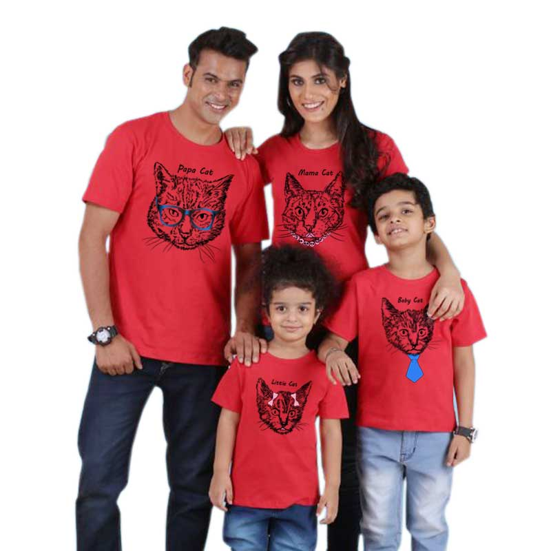 Family Matching Son-Outfits Look Daddy Mom Baby Mommy Cat for Daughter And Me Animal