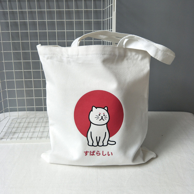Women's Tote Shoulder Bags Korea Cartoon Cat Canvas Shopping Bag for Lady 2020 Cotton Cloth Handbags Eco Reusable Grocery Bags 2