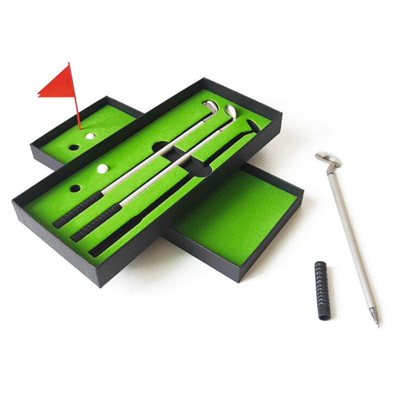Mini Golf Course Pole Club Set Golf Pen Set Mini Desktop Golf Ball Pen Gift Set Putting Green Flag Golf Clubs Models Ballpoint