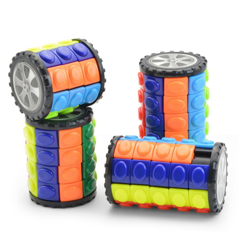 Colorful 3D Rotate Sliding Babylon Tower Stress Cube Cylinder Magic Cube Puzzle Toys For Children Kids Adults Sensory Toys Gifts