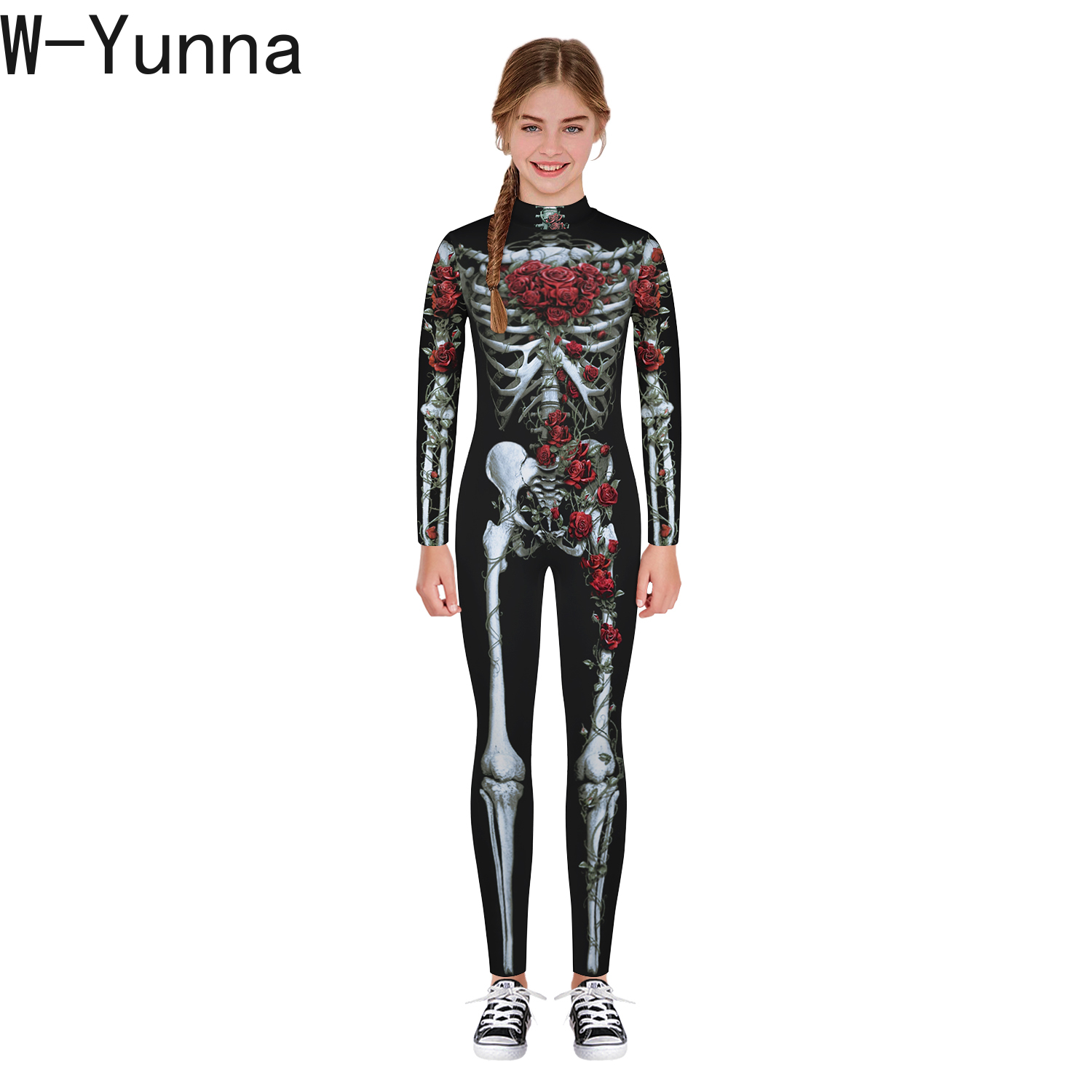 Image 2 - W Yunna 2019 Autumn Clothes Fashion Skeleton Blood Scary Costume Holloween 3d Print Full Sleeves Full Length Jumpsuits for Kids