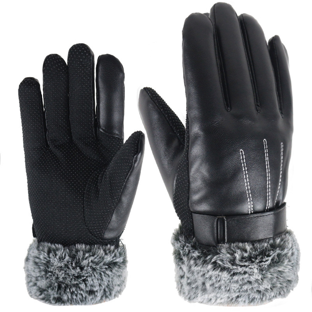 Men Winter Thicken Thermal Warm Gloves Male Fleece Ling Faux Leather Glove Winter Warm Touch Screen Driving Glove #P3