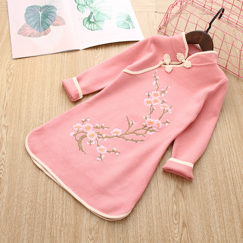 2018 Autumn & Winter New Style Girls Ethnic-Style Vintage Woolen Jacket Children Chinese-style Chinese Costume GIRL'S Tops