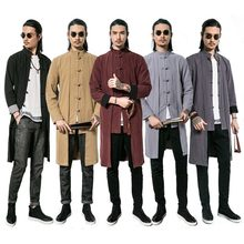 Chinese Traditional Linen Robe Loose Blouse Gown Clothing Men Tee Top Long Sleeve Jackets Kung Fu T-shirt Tang Suit Hanfu Outfit(China)