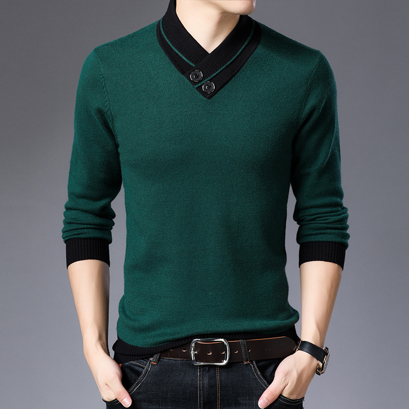 Men's Fashion Scarf Collar V-neck Men's Casual Sweater Temperament Sweater Long-sleeved Shirt Men's Stitching Slim Sweater
