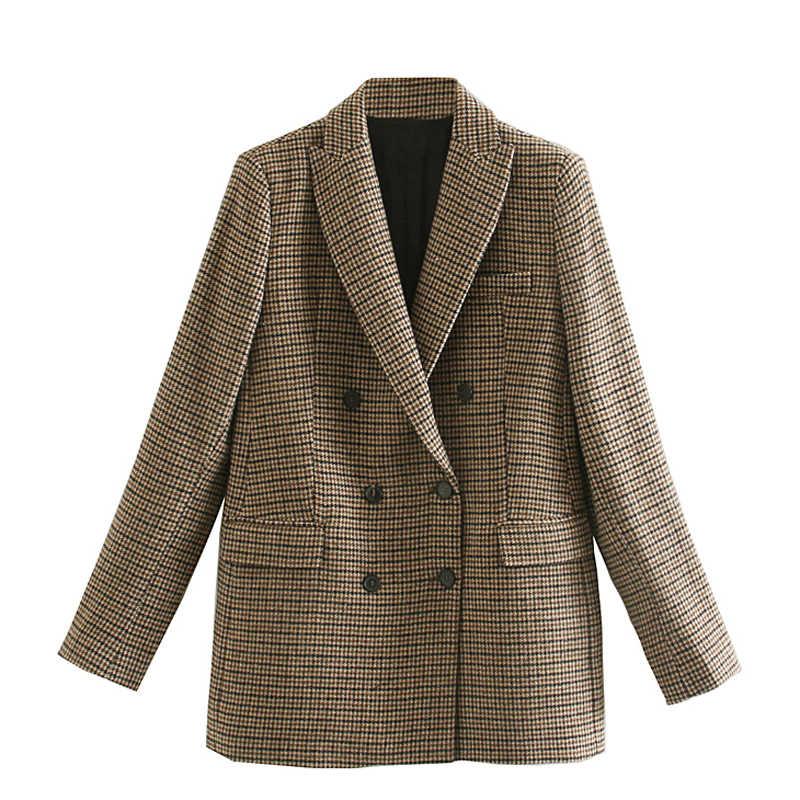 AGong podwójne piersi Blazers kobiety moda w kratę drukowana guziki kurtki damskie eleganckie biuro damska odzież damska damska KD