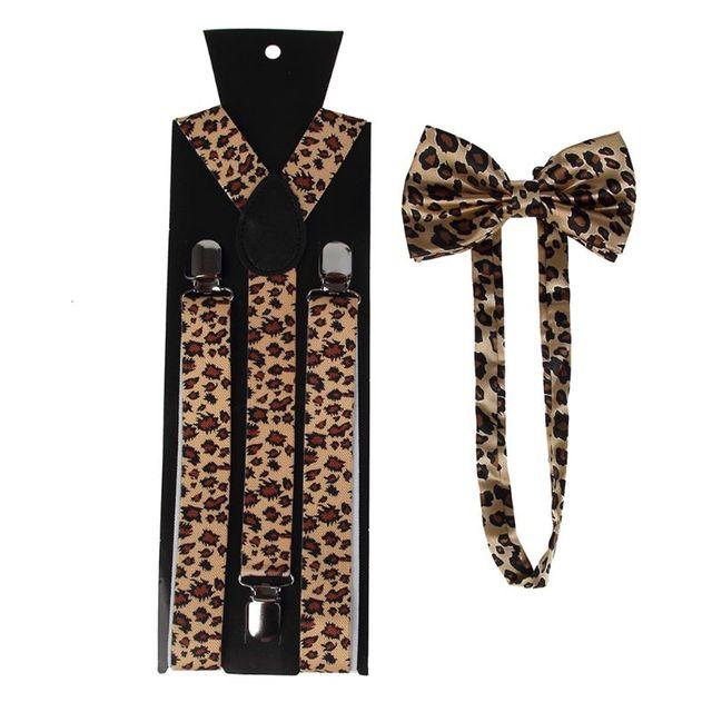 2020 New Unisex Suspender Bow Tie Set Wide Leopard Print Adjustable 3 Clip-On Y-Back Belt 2