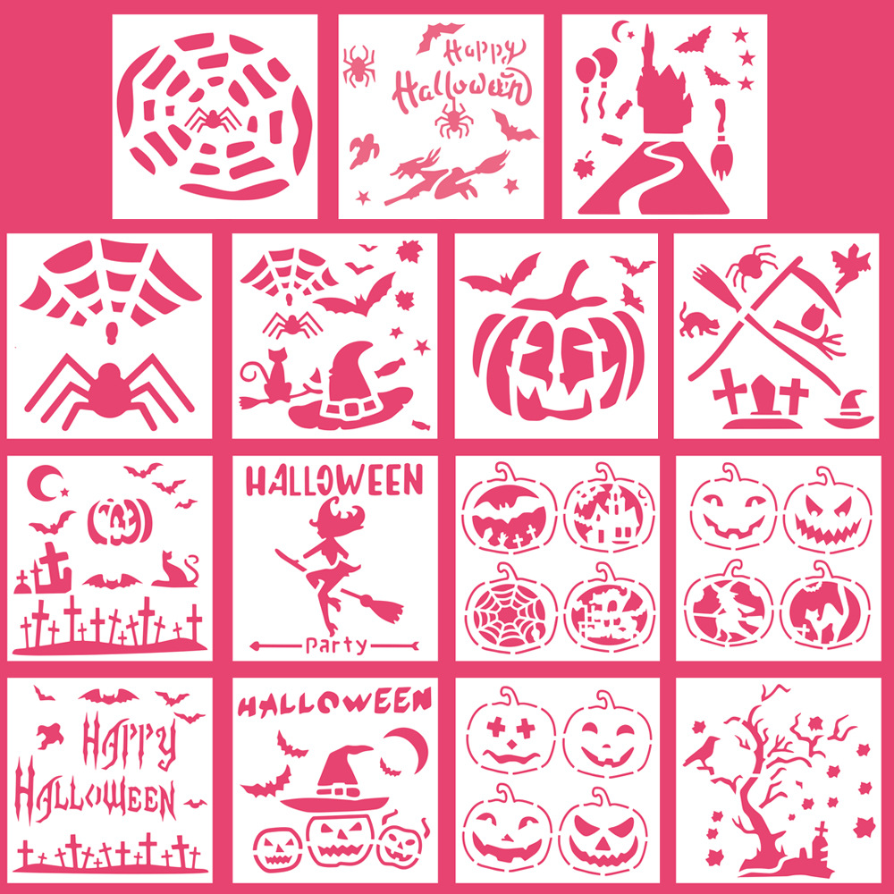 13*13 Halloween Plastic Layering Stencils For DIY Scrapbooking/photo Album Decorative Embossing DIY Paper Cards Crafts