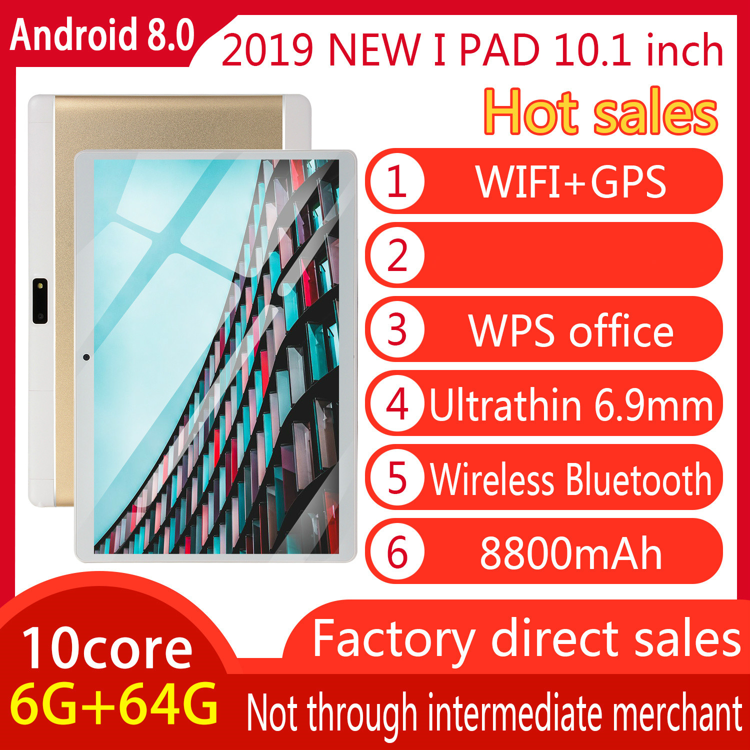 2020  New 10 Inch 6G + 64G 10 Core Large Memory Dual Card Dual Standby Can Connect WIFI And GPS
