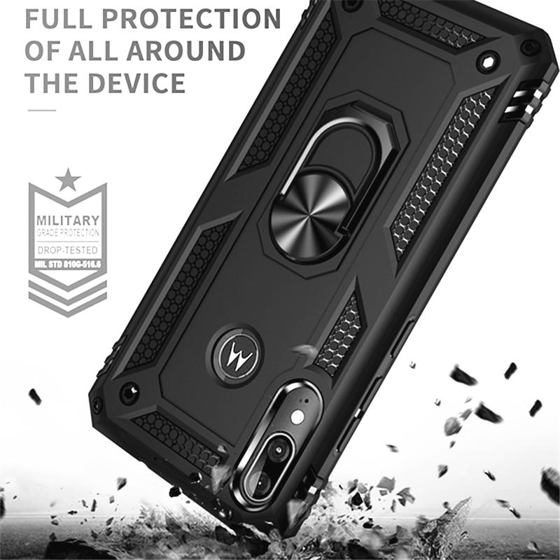 Drop Protection Hard Armor Phone Case For MOTOROLA MOTO E6 Plus G7 Power Play Finger Ring Cover