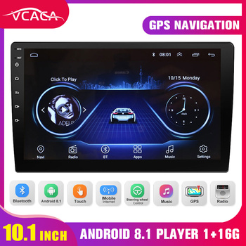 VCACA 10.1 Inches Car Multimedia Player Android 8.1 GPS/WIFI/1+16G Touch Screen Auto Stereo Bluetooth FM Mirrorlink Video Player