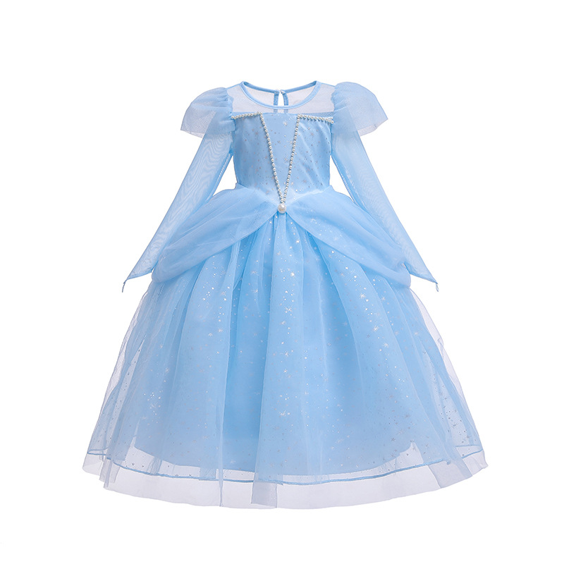 Children's Clothes New Baby Girls Blue And Pink Cute Princess Party Costume Kids Girl Long Sleeve O-neck Lace Beautiful Dress