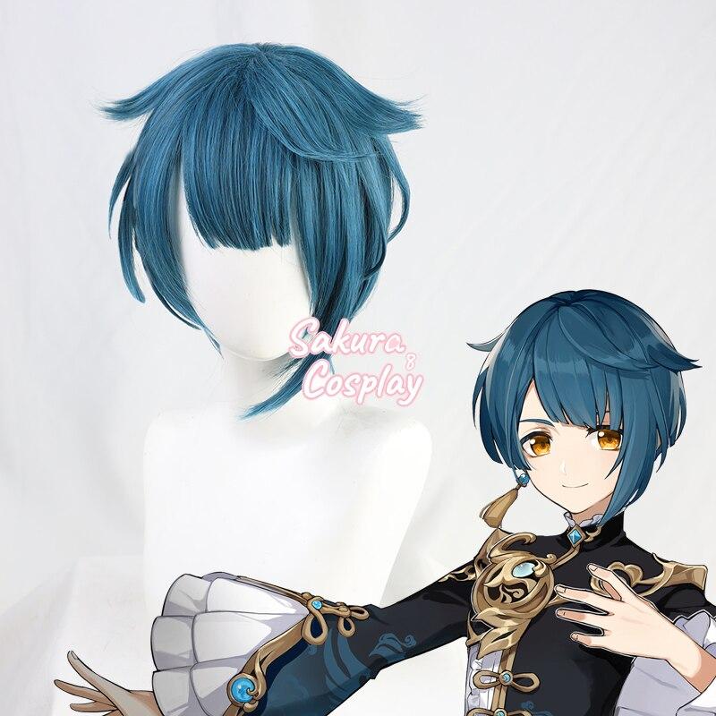 Genshin-Disfraz de Impact XINGQIU, pelo sintético azul corto resistente al calor, para Halloween, Carnaval, fiesta de juegos de rol + gorro de peluca gratis