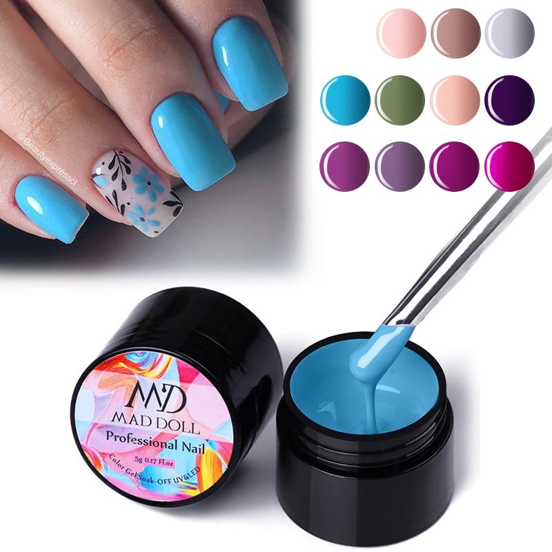 MAD DOLL 5g Colorful Summer Series Painting Gel Varnish Soak Off LED UV Nail Gel Polish Nail Art Rainbow DIY Gel Lacquers