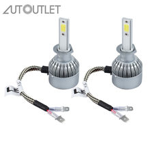 AUTOUTLET 2 Pcs H1 72W 7600LM COB LED Car Headlight Kit 6000K Lamps Globes Bulbs White for H1 COB LED KIT(China)
