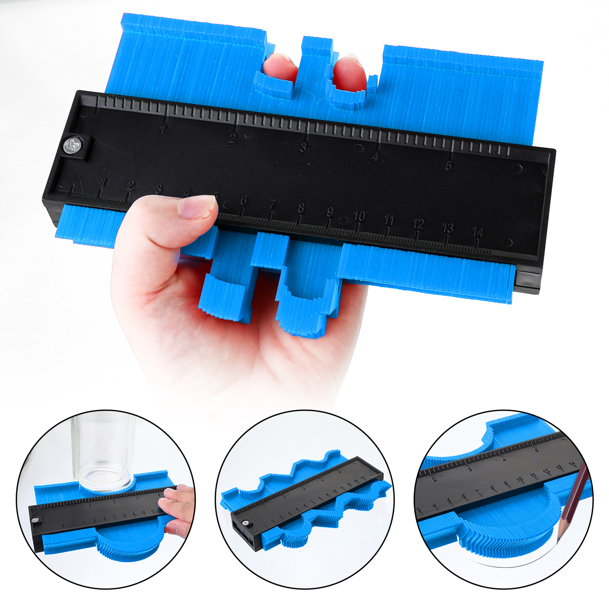 Measure Ruler 5/10 Inch Multi-functio Contour Profile Gauge Tiling Laminate Tiles Edge Shaping Wood ABS Contour Gauge Duplicator