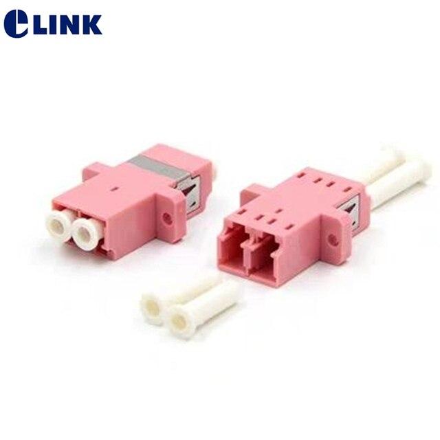 50pcs LC UPC duplex OM3  fiber optic adapter aqua LC ftth coupler DX optical fibre dual connector flange free shipping IL<0.2dB