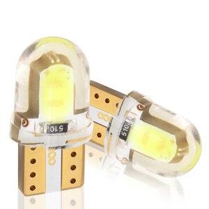 Автомобильный светодиодный светильник T10 W5W 12 В, 1/2, 10 шт., кластер светодиодных приборов, силикон, Cob 2 Вт, автомобильная интерьерная лампа, жел...