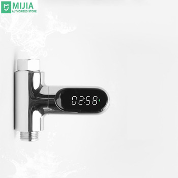 Xiaomi Water Shower Thermometer LED Celsius Fahrenheit Time Display Flow Self-Generating Electricity Water Temperture Meter цена 2017