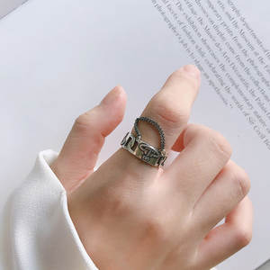 925 sterling silver ring Female gothic vintage resizable bague homme argent 925 Vintage Party anillos bizuteria
