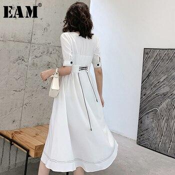 [EAM] Women White Back Bandage Elegant Long Dress New V-Neck Half Sleeve Loose Fit Fashion Tide Spring Summer 2020 1W518
