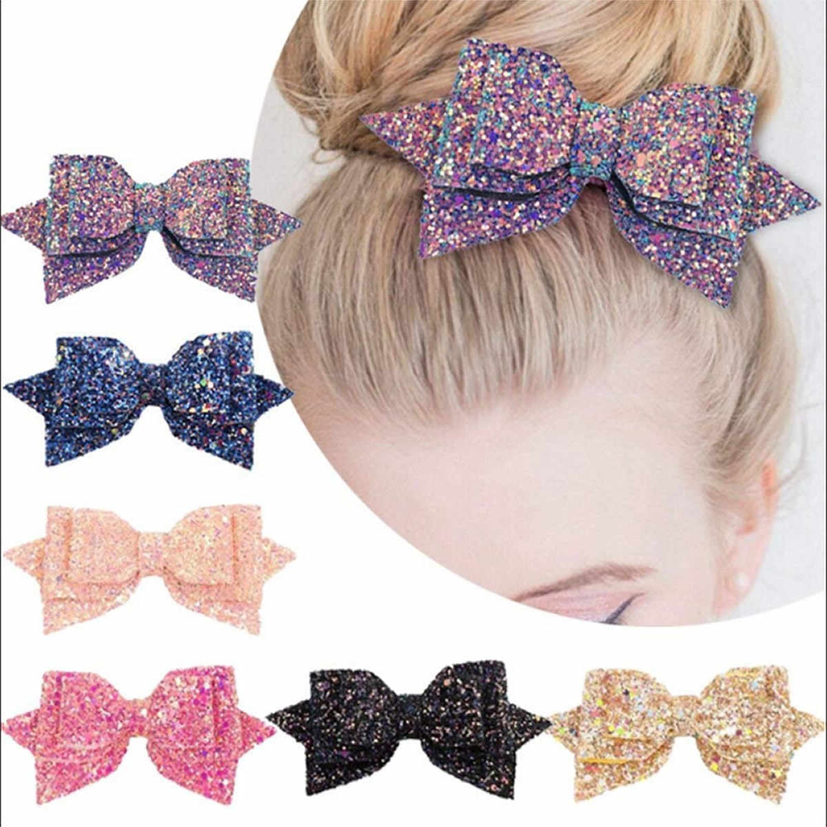 Sequin hair bows,7 inch hairpin headwear for girls huge bow clip Glitter bow knot