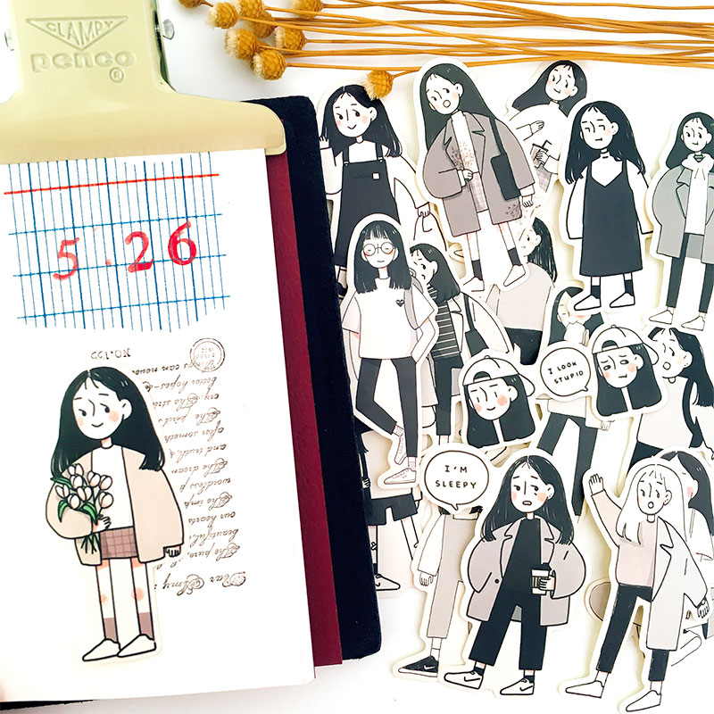 17pcs Girl Getting Off Work Stickers Crafts And Scrapbooking Stickers Book Student Label Decorative Sticker DIY Stationery
