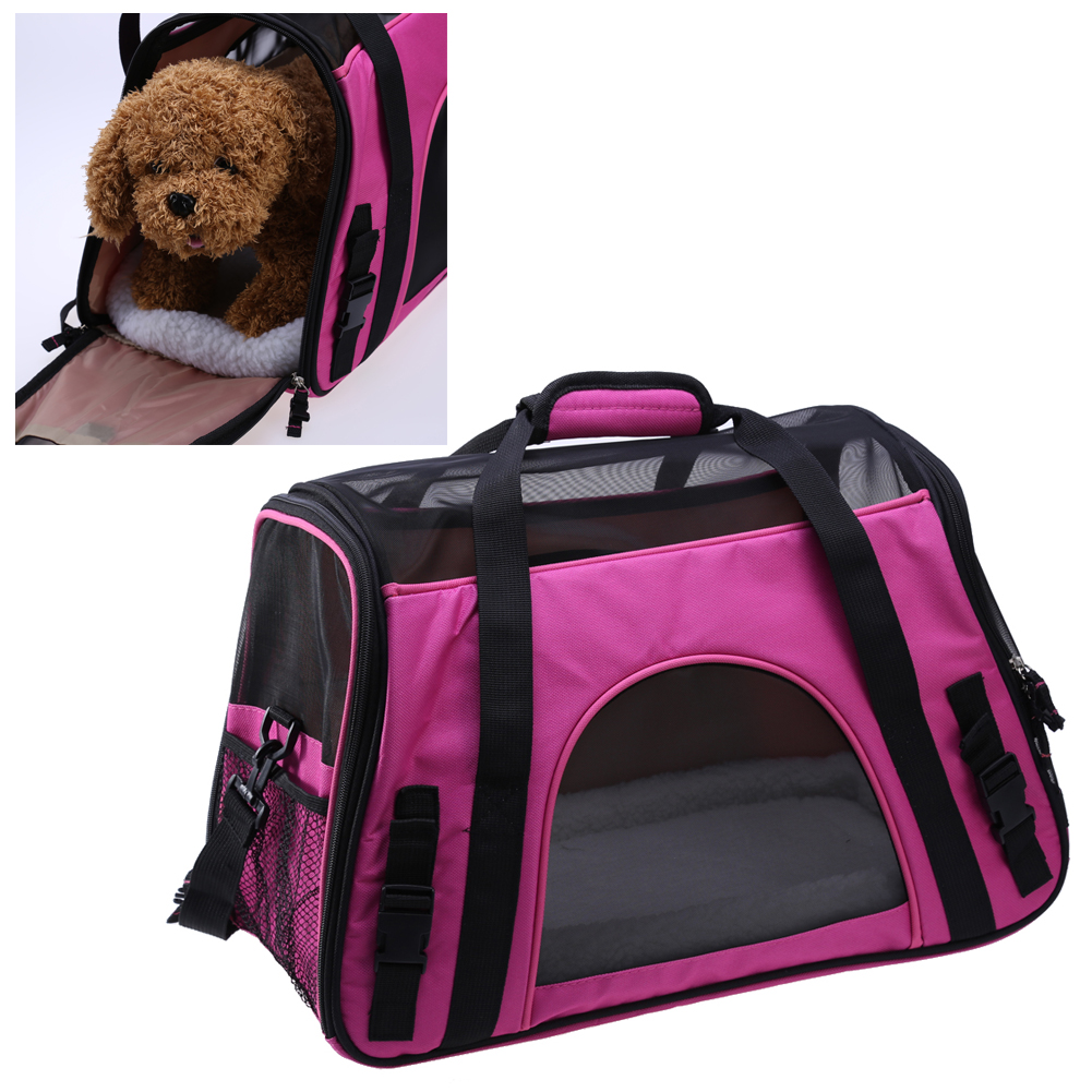 Pet Carrier Soft Sided Small Cat Dog Comfort Red Travel Approved for Wallet Cell Phone Keys Food Indoor Outdoor 47x24x33cm image