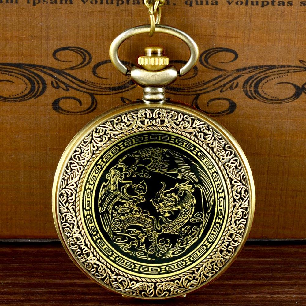 Mysterious Dragon Quartz Pocket Watch Chains Antique Men Women  Pendant Necklace Clock Gift