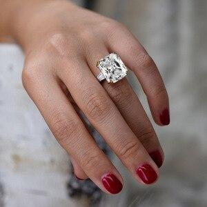 Image 4 - PANSYSEN takılar 14x16mm ametist taş yüzük kadın erkek hakiki 925 ayar gümüş nişan parmak yüzük güzel takı