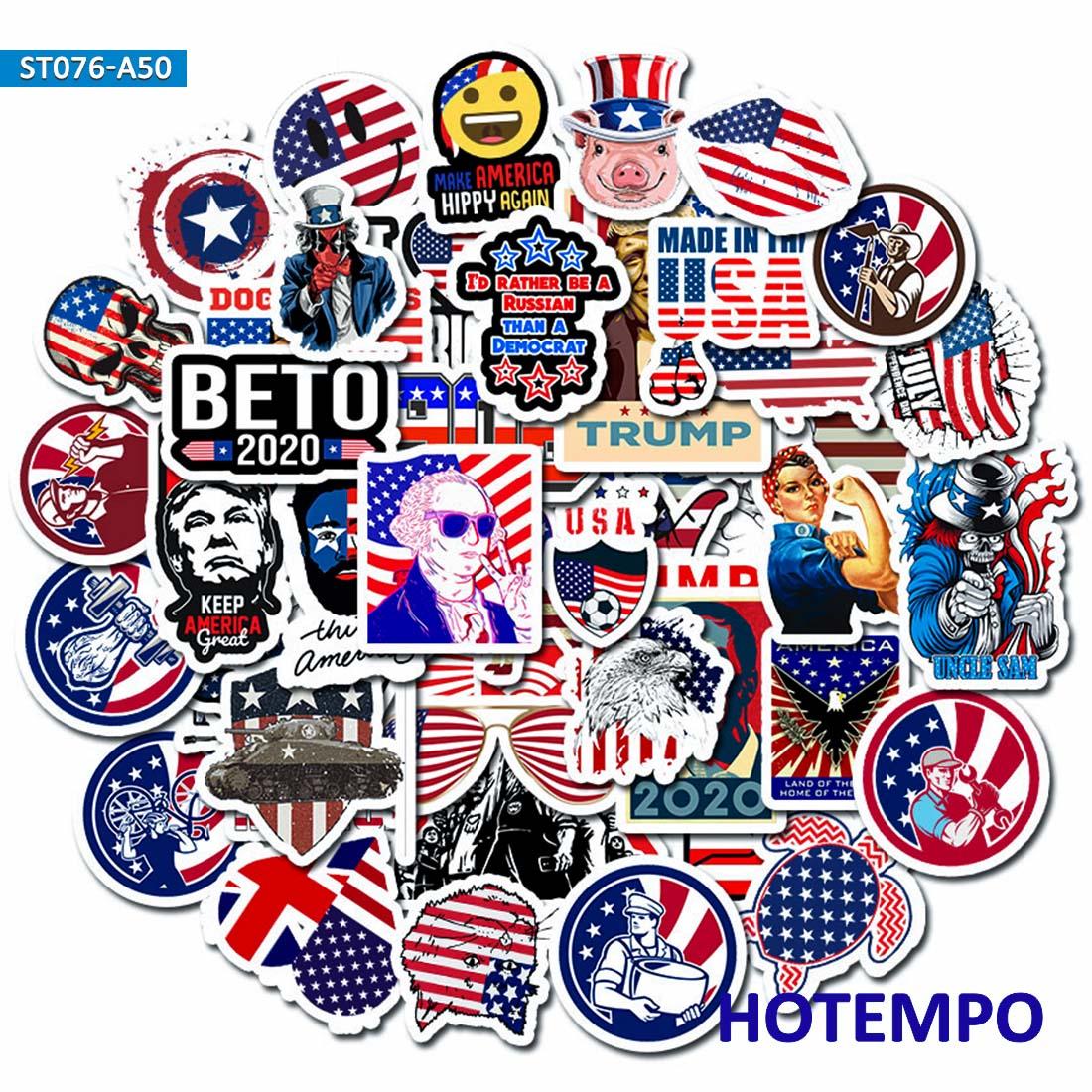 50 шт., забавные наклейки «Американский Трамп» с узором «Президент дух», наклейки для ноутбука, багажа, гитары, чехла, скейтборда, 2020