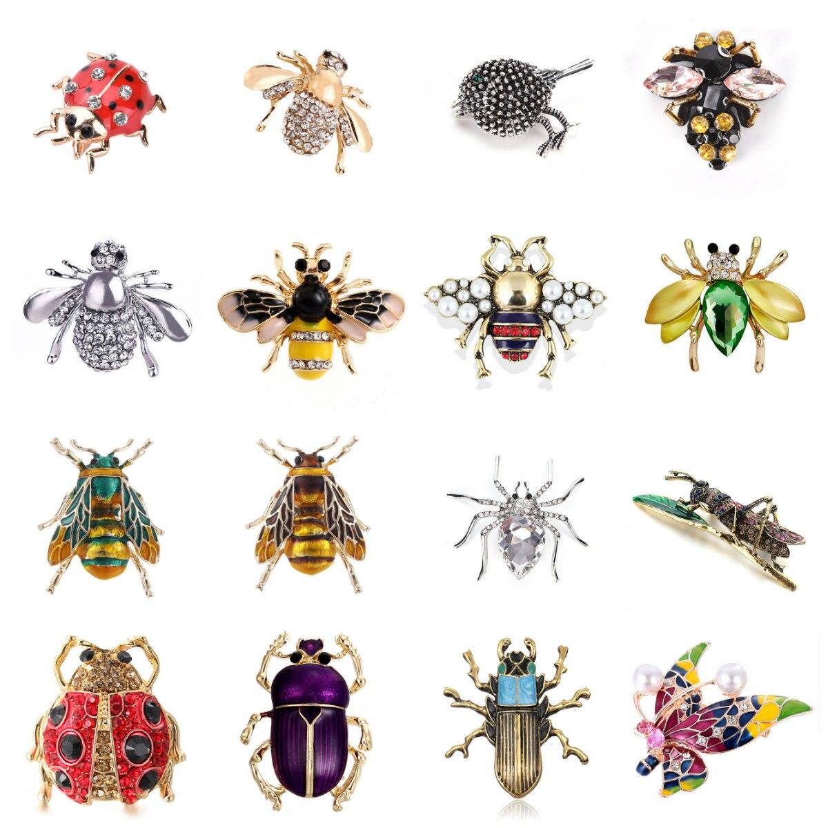 Femmes délicates petite abeille cristal cristal insecte abeille broche bijoux