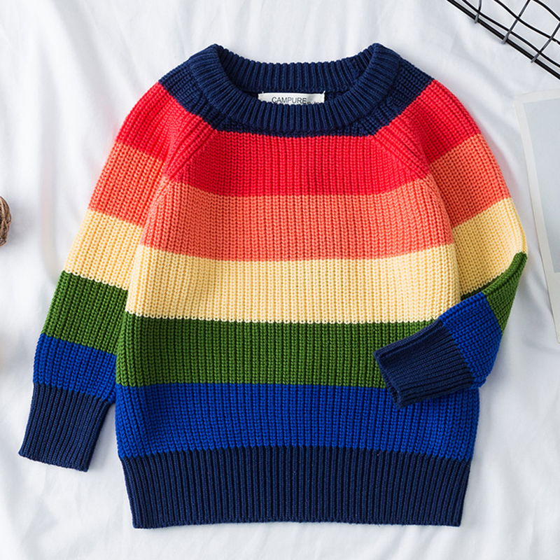 2020 New European American Style Kids Knitted Pullovers Tops Spring Baby Boys Girls Stripe Sweaters Autumn Children Clothes 1