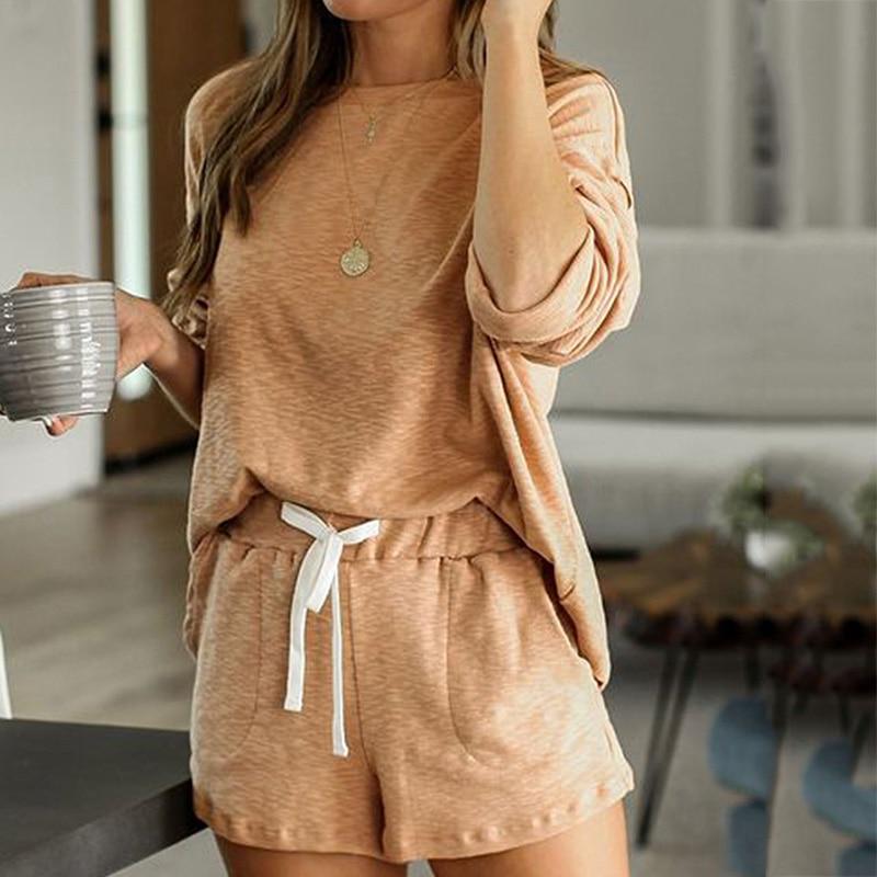 2020 New loungewear women pajama set summer breathable nightgown sleepwear indoor long sleeve sleep tops two pieces pijama mujer (1)
