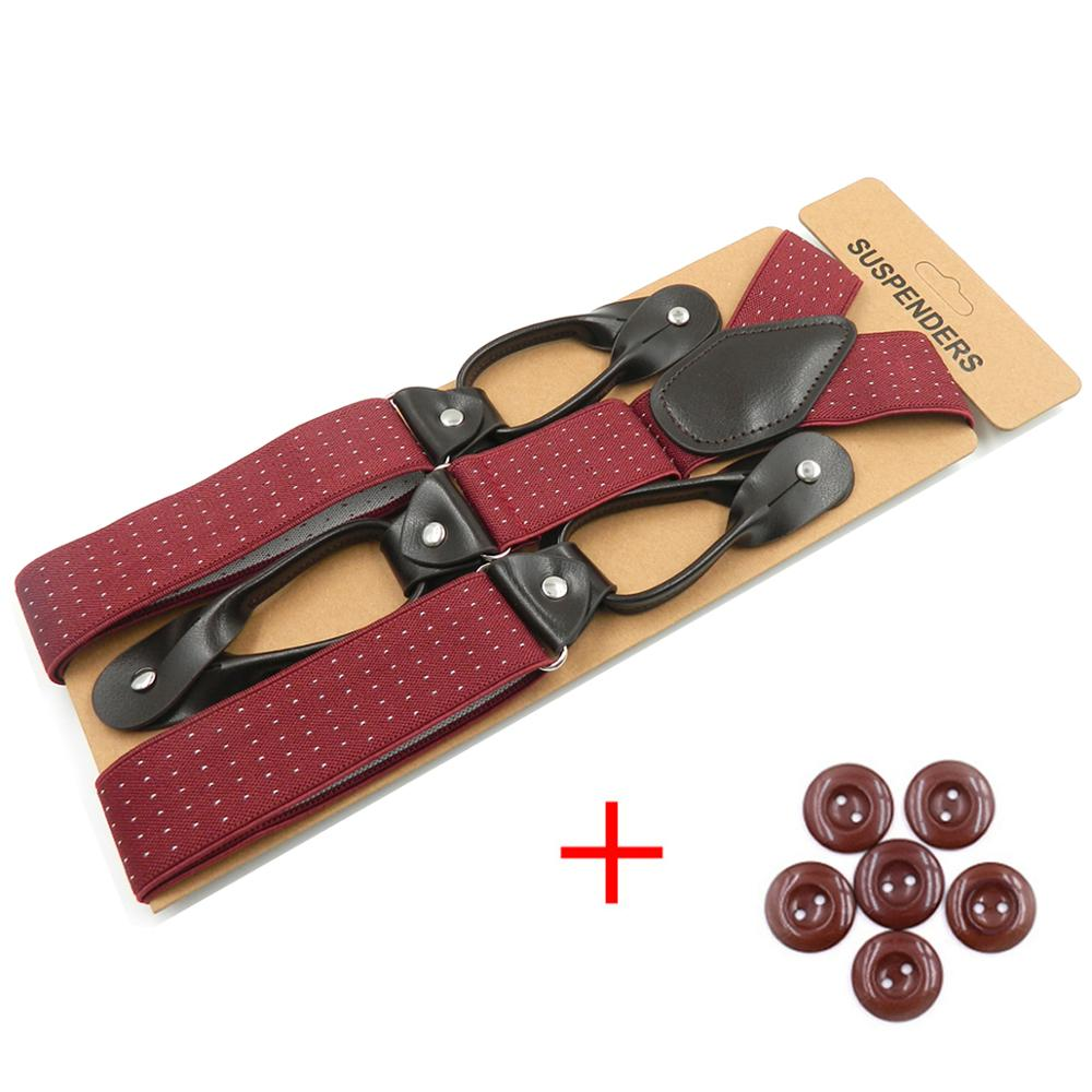 Suspenders Braces For Men PU Leather Trimmed Elastic Tuxedo Suspenders Men's Fashion Accessories Gifts For Father Husband