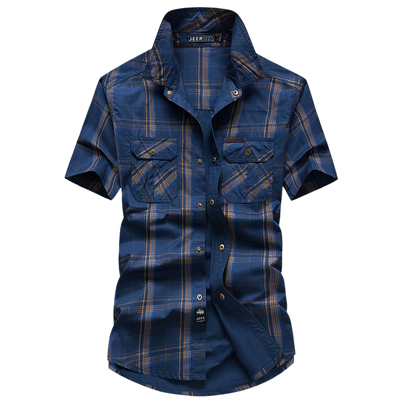 Brand Summer Plaid Shirt Men Casual Cotton Breathable Men Shirt Camisa Masculina Plus Size M-5XL Short Sleeve Soft Shirts