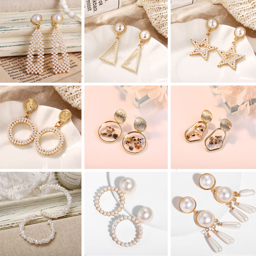 Crazy Feng Korean Fashion Simulated Pearl Earrings for Women GeometricTriangle Square Long Dangle Earring Mujer Jewelry 209